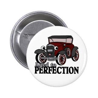 Envejecido al coche antiguo de la perfección pin redondo de 2 pulgadas
