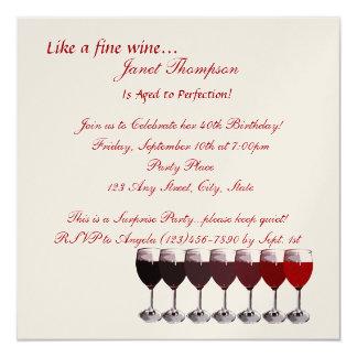 """Envejecido al cumpleaños de la perfección invite invitación 5.25"""" x 5.25"""""""