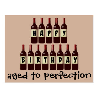 Envejecido cumpleaños del amante del vino de la tarjetas postales