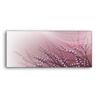 Envelop  with blossom willow branches envelope