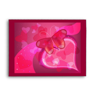 Envelop with decorative shining valentine butterfl envelopes