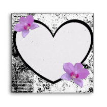 Envelope, Black, and  White Heart, Pink Orchids Envelope