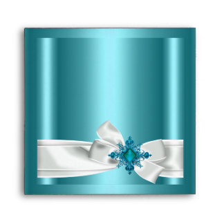 Envelope Blue Teal Silver White Bow