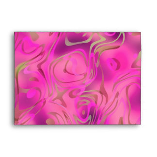 Envelope Bright Pink Gold Swirl
