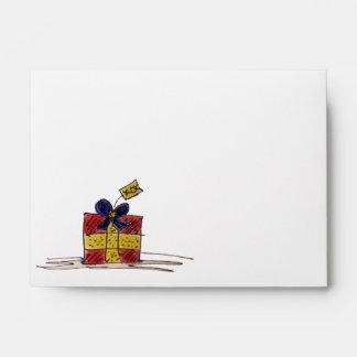 Envelope Christmas Present White Yellow Customize