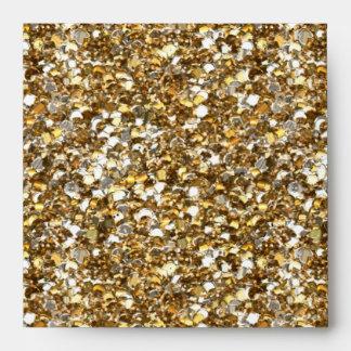 Envelope Faux Gold Glitter Square