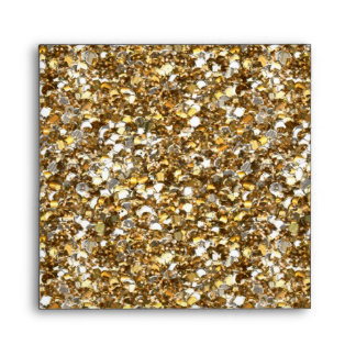 Envelope Faux Gold Glitter Square