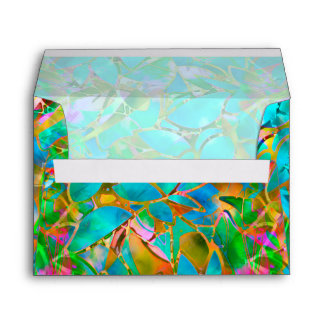 Envelope Floral Abstract Stained Glass