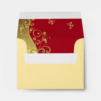 Envelope For RSVP Card--Red & Gold Swirls