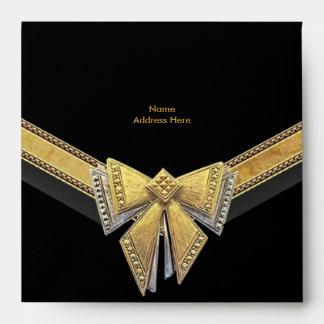 Envelope Gold Black Trim Bow