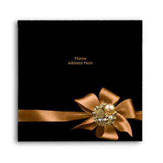 Envelope Gold Black Trim Bow Jewel