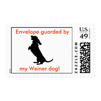 Envelope guarded by my Weiner Dog! Postage
