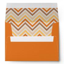 Envelope in pumpkin orange with chevron pattern