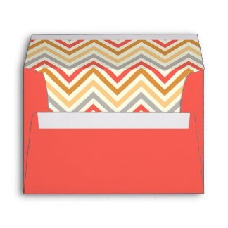 Envelope in watermelon red with chevron pattern