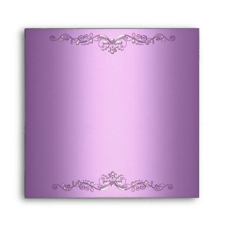 Envelope Lilac Purple Pink Silver Ornate Elegant