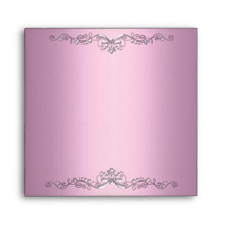 Envelope Pink Silver Ornate Elegant