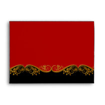 Envelope Red Black Gold Ornate Elegant