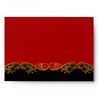 Envelope Red Black Gold Ornate Elegant