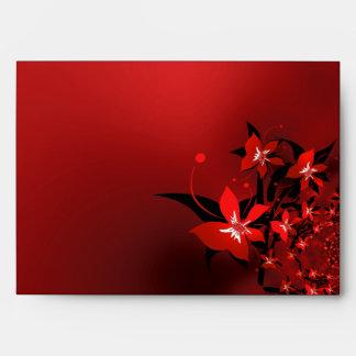 Envelope Red Flowers
