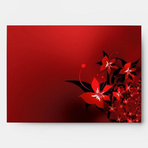 Envelope Red Flowers Envelopes