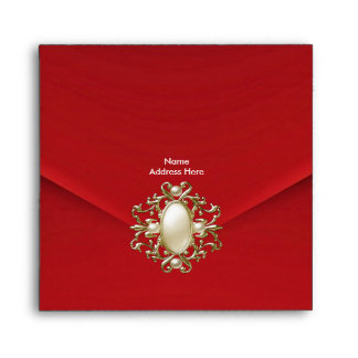 Envelope Red Velvet Pearl Jewel