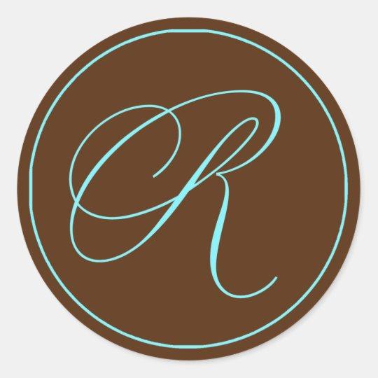 Envelope Seal Chocolate Blue Monogram Wedding