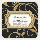 Envelope Seal Glam Old Hollywood Regency Black Tie Square Sticker