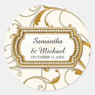 Envelope Seal Glam Old Hollywood Regency Black Tie Round Stickers