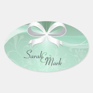 Envelope Seal Green & White Floral Ribbon Wedding