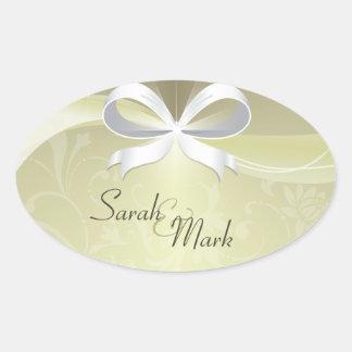 Envelope Seal Ivory & White Floral Ribbon Wedding