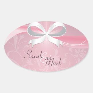 Envelope Seal Pink & White Floral Ribbon Wedding