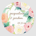 Envelope Seal Simple Modern Watercolor Floral Rose Classic Round Sticker