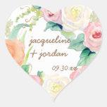 Envelope Seal Simple Modern Watercolor Floral Rose Heart Sticker