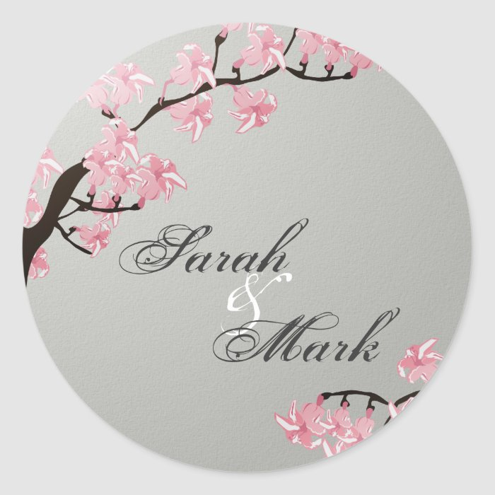 Envelope Seal Slate Grey & Pink Cherry Blossoms Classic Round Sticker