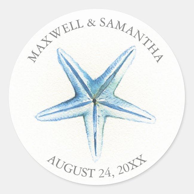 Envelope Seal Sticker, Blue Starfish Beach Wedding