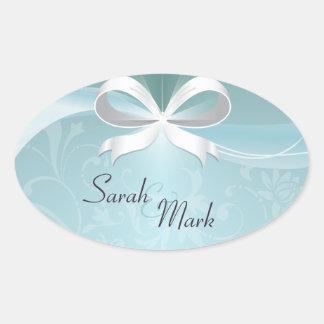 Envelope Seal Teal & White Floral Ribbon Wedding