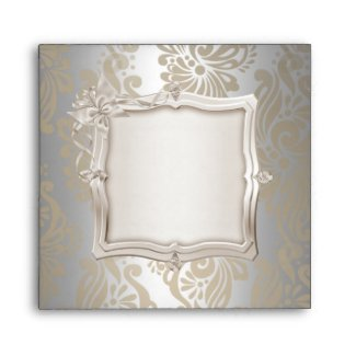Envelope Square Elegant Damask Sepia Silver