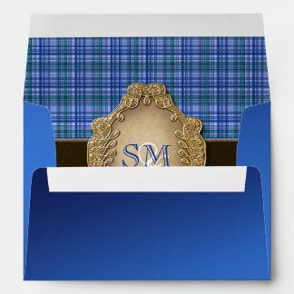 Envelope tartan blue brown wedding PERSONALIZE
