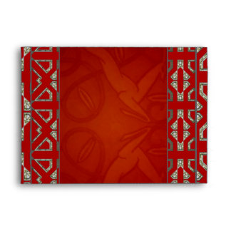 Envelope Vintage Retro Red Silver Art Deco