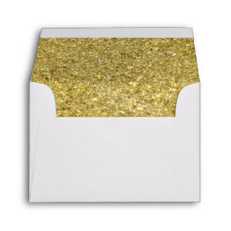 Envelope with Faux Gold Glitter Liner