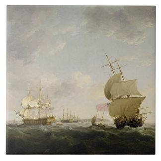 Enviando en el canal inglés, c.1755 (aceite en el  azulejo cuadrado grande