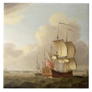 Enviando en el estuario de Thames, c.1761-66 (acei Azulejo Cuadrado Grande