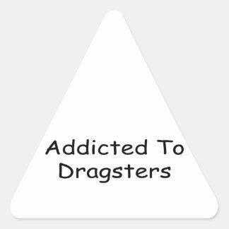 Enviciado a Dragsters por Gear4gearheads Pegatina Triangular