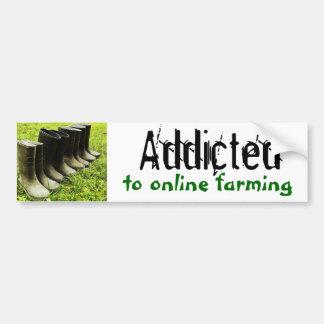 Enviciado a la familia agrícola en línea Gumboots Etiqueta De Parachoque