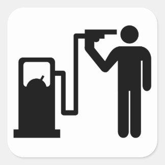 Enviciado a la gasolina calcomanía cuadrada
