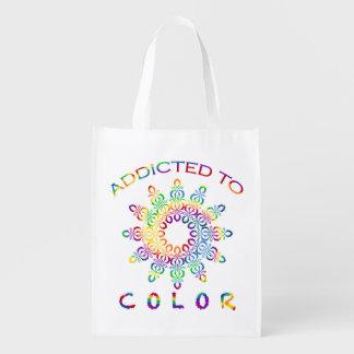 Enviciado a la mandala del arco iris del color bolsas para la compra