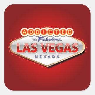 Enviciado a Las Vegas, muestra divertida de Nevada Pegatina Cuadrada