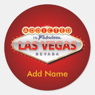 Enviciado a Las Vegas, muestra divertida de Nevada Pegatina Redonda