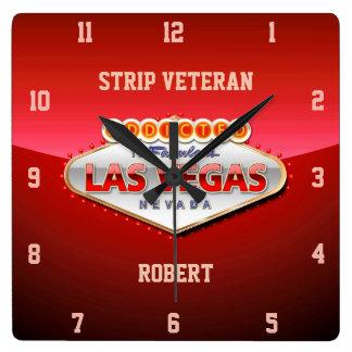 Enviciado a Las Vegas, muestra divertida de Nevada Reloj Cuadrado