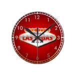 Enviciado a Las Vegas, muestra divertida de Nevada Reloj Redondo Mediano